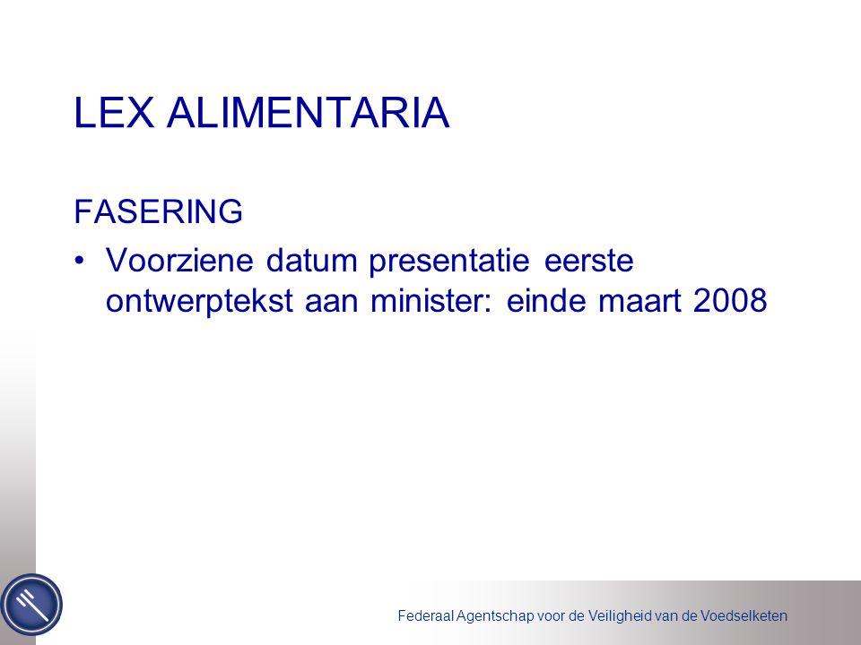 Federaal Agentschap voor de Veiligheid van de Voedselketen LEX ALIMENTARIA FASERING Voorziene datum presentatie eerste ontwerptekst aan minister: einde maart 2008