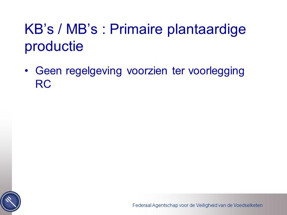 Federaal Agentschap voor de Veiligheid van de Voedselketen KB's / MB's : Primaire plantaardige productie Geen regelgeving voorzien ter voorlegging RC