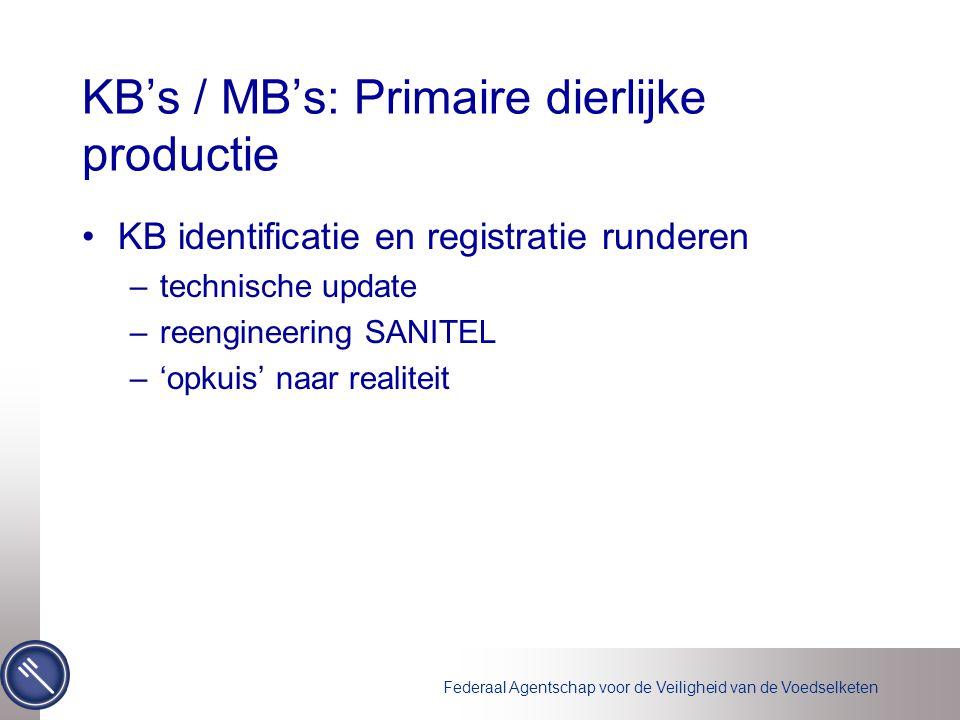 Federaal Agentschap voor de Veiligheid van de Voedselketen KB's / MB's: Primaire dierlijke productie KB identificatie en registratie runderen –technische update –reengineering SANITEL –'opkuis' naar realiteit