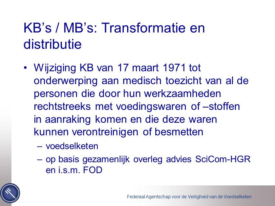 Federaal Agentschap voor de Veiligheid van de Voedselketen KB's / MB's: Transformatie en distributie Wijziging KB van 17 maart 1971 tot onderwerping aan medisch toezicht van al de personen die door hun werkzaamheden rechtstreeks met voedingswaren of –stoffen in aanraking komen en die deze waren kunnen verontreinigen of besmetten –voedselketen –op basis gezamenlijk overleg advies SciCom-HGR en i.s.m.