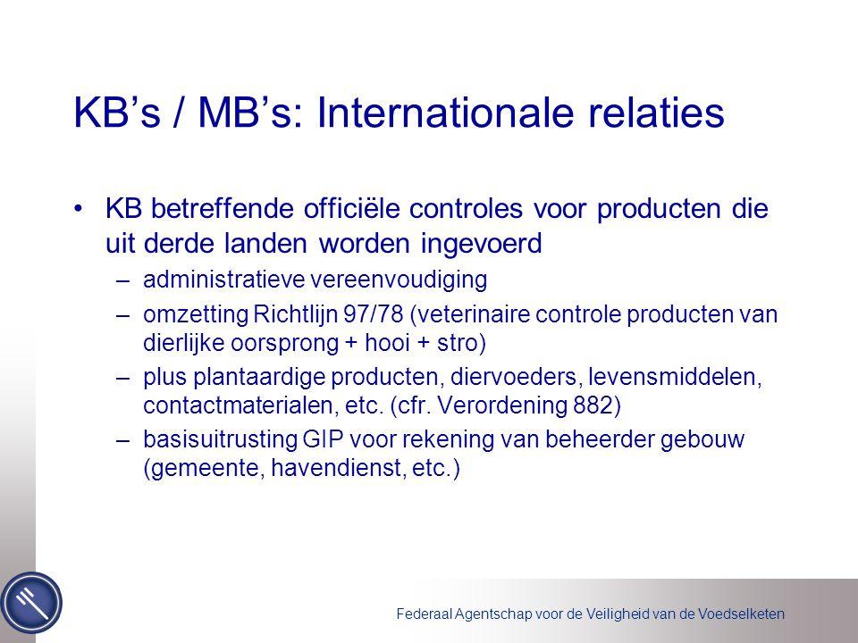 Federaal Agentschap voor de Veiligheid van de Voedselketen KB's / MB's: Internationale relaties KB betreffende officiële controles voor producten die uit derde landen worden ingevoerd –administratieve vereenvoudiging –omzetting Richtlijn 97/78 (veterinaire controle producten van dierlijke oorsprong + hooi + stro) –plus plantaardige producten, diervoeders, levensmiddelen, contactmaterialen, etc.