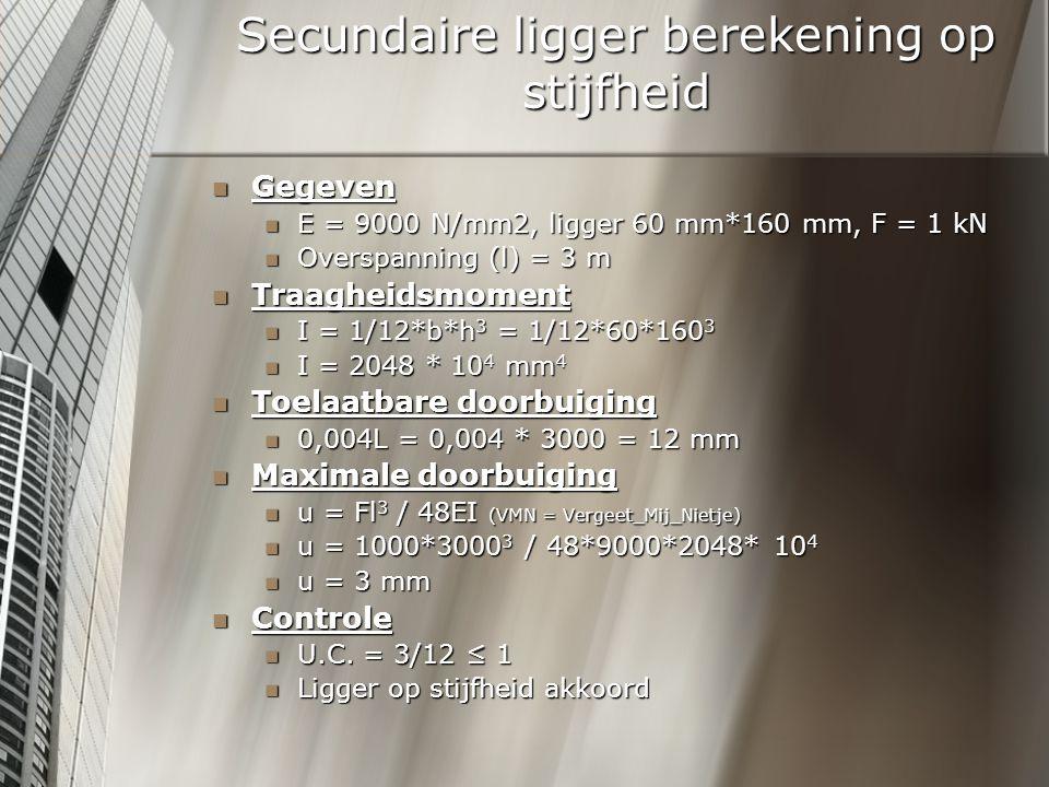Secundaire ligger berekening op stijfheid Gegeven Gegeven E = 9000 N/mm2, ligger 60 mm*160 mm, F = 1 kN E = 9000 N/mm2, ligger 60 mm*160 mm, F = 1 kN Overspanning (l) = 3 m Overspanning (l) = 3 m Traagheidsmoment Traagheidsmoment I = 1/12*b*h 3 = 1/12*60*160 3 I = 1/12*b*h 3 = 1/12*60*160 3 I = 2048 * 10 4 mm 4 I = 2048 * 10 4 mm 4 Toelaatbare doorbuiging Toelaatbare doorbuiging 0,004L = 0,004 * 3000 = 12 mm 0,004L = 0,004 * 3000 = 12 mm Maximale doorbuiging Maximale doorbuiging u = Fl 3 / 48EI (VMN = Vergeet_Mij_Nietje) u = Fl 3 / 48EI (VMN = Vergeet_Mij_Nietje) u = 1000*3000 3 / 48*9000*2048* 10 4 u = 1000*3000 3 / 48*9000*2048* 10 4 u = 3 mm u = 3 mm Controle Controle U.C.
