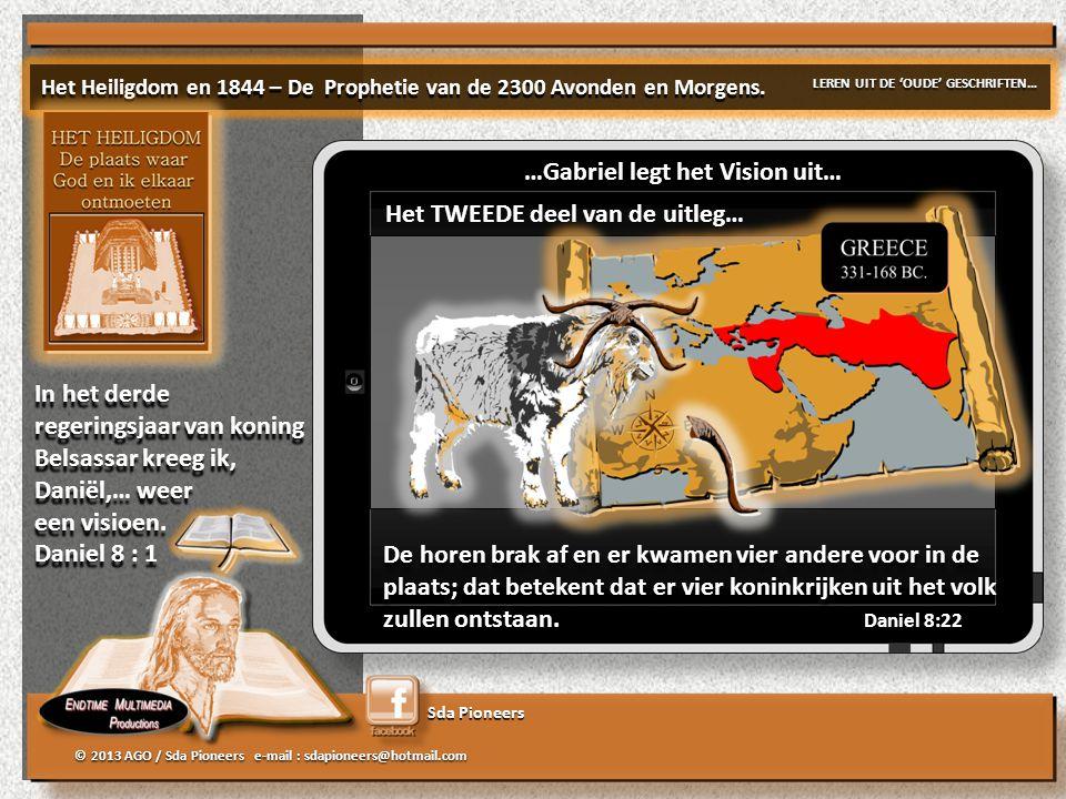 Sda Pioneers © 2013 AGO / Sda Pioneers e-mail : sdapioneers@hotmail.com De horen brak af en er kwamen vier andere voor in de plaats; dat betekent dat er vier koninkrijken uit het volk zullen ontstaan.