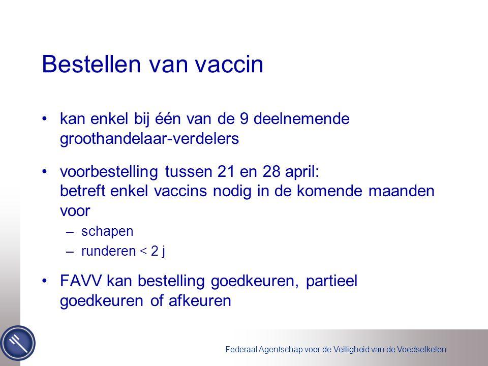 Bestellen van vaccin kan enkel bij één van de 9 deelnemende groothandelaar-verdelers voorbestelling tussen 21 en 28 april: betreft enkel vaccins nodig