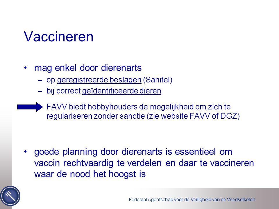 Federaal Agentschap voor de Veiligheid van de Voedselketen Vaccineren mag enkel door dierenarts –op geregistreerde beslagen (Sanitel) –bij correct geï
