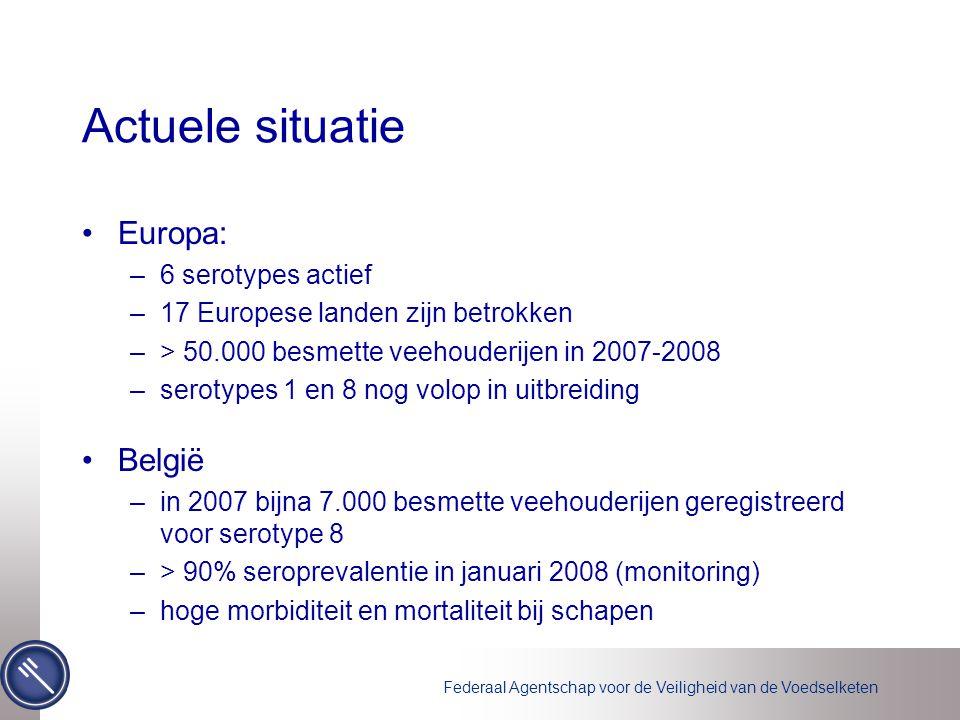 Actuele situatie Europa: –6 serotypes actief –17 Europese landen zijn betrokken –> 50.000 besmette veehouderijen in 2007-2008 –serotypes 1 en 8 nog vo