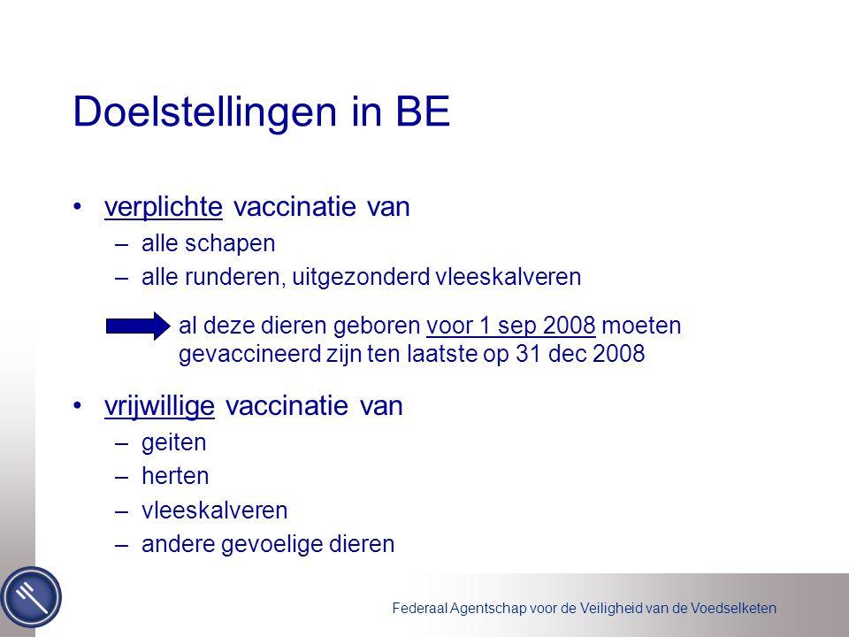 Federaal Agentschap voor de Veiligheid van de Voedselketen Vaccins algemeen : –geïnactiveerd vaccin tegen BTV8 –6.000.000 doses besteld via algemene offerteaanvraag –toegekend aan Mérial SAS (M) Fort-Dodge Animal Health (FD) vaccins zijn niet geregistreerd, maar hebben enkel een tijdelijke gebruiksvergunning –M: schapen en runderen BTVPUR ® AlSap 8 –FD: runderen Zulvac ® 8 bovis