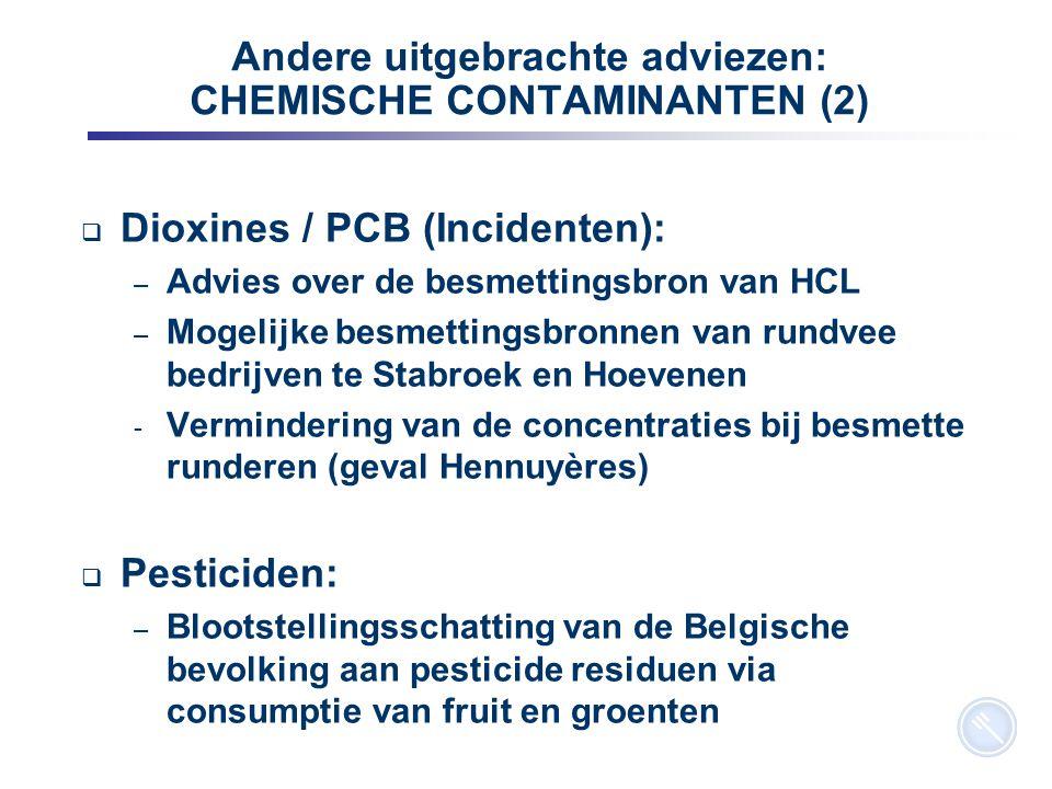 10 Andere uitgebrachte adviezen: CHEMISCHE CONTAMINANTEN (2)  Dioxines / PCB (Incidenten): – Advies over de besmettingsbron van HCL – Mogelijke besme