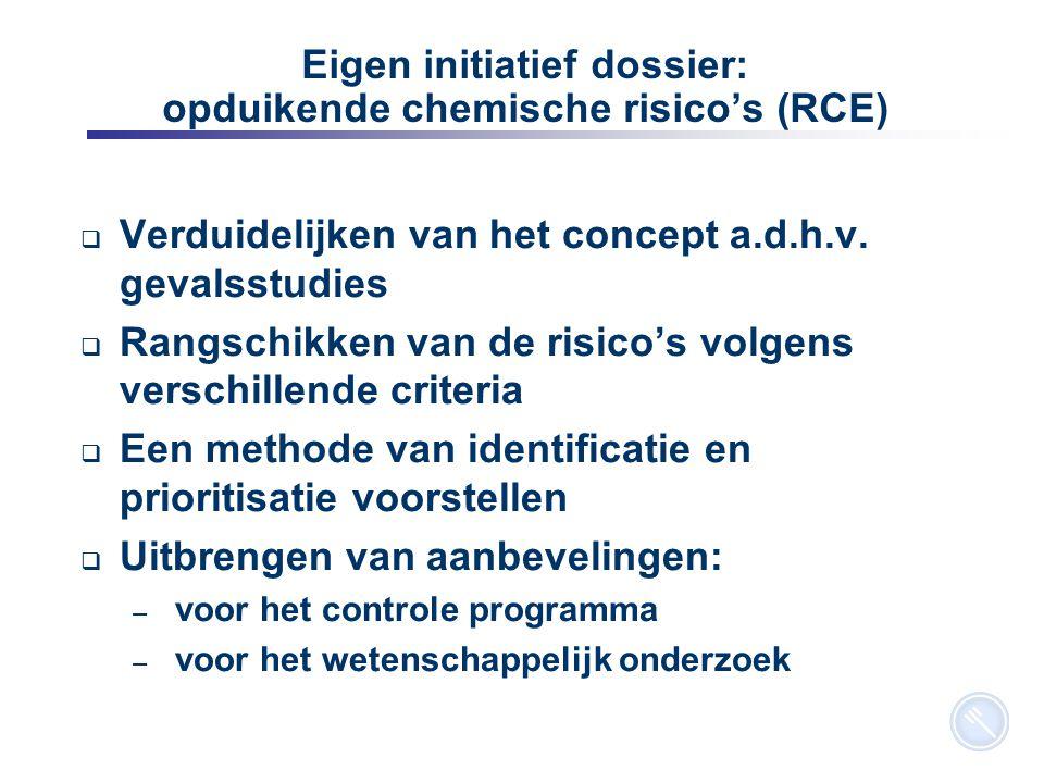 12 Eigen initiatief dossier: opduikende chemische risico's (RCE)  Verduidelijken van het concept a.d.h.v. gevalsstudies  Rangschikken van de risico'