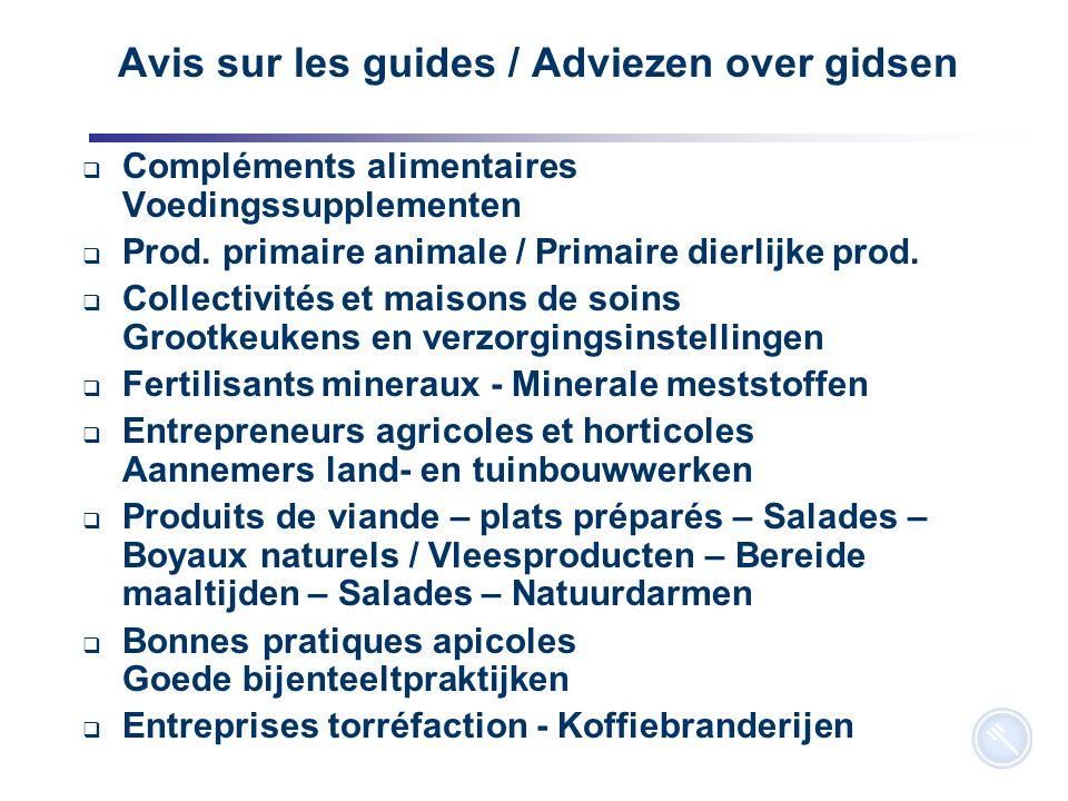 4 Avis sur les guides / Adviezen over gidsen  Compléments alimentaires Voedingssupplementen  Prod. primaire animale / Primaire dierlijke prod.  Col