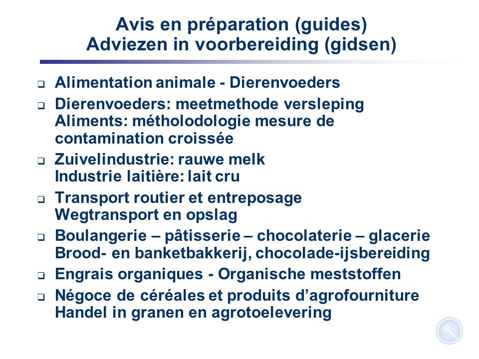 5 Avis en préparation (guides) Adviezen in voorbereiding (gidsen)  Alimentation animale - Dierenvoeders  Dierenvoeders: meetmethode versleping Alime
