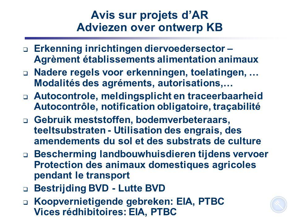 6 Avis sur projets d'AR Adviezen over ontwerp KB  Erkenning inrichtingen diervoedersector – Agrèment établissements alimentation animaux  Nadere reg
