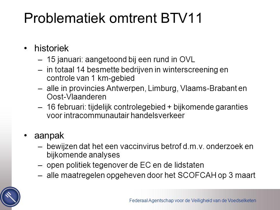 Problematiek omtrent BTV11 historiek –15 januari: aangetoond bij een rund in OVL –in totaal 14 besmette bedrijven in winterscreening en controle van 1 km-gebied –alle in provincies Antwerpen, Limburg, Vlaams-Brabant en Oost-Vlaanderen –16 februari: tijdelijk controlegebied + bijkomende garanties voor intracommunautair handelsverkeer aanpak –bewijzen dat het een vaccinvirus betrof d.m.v.