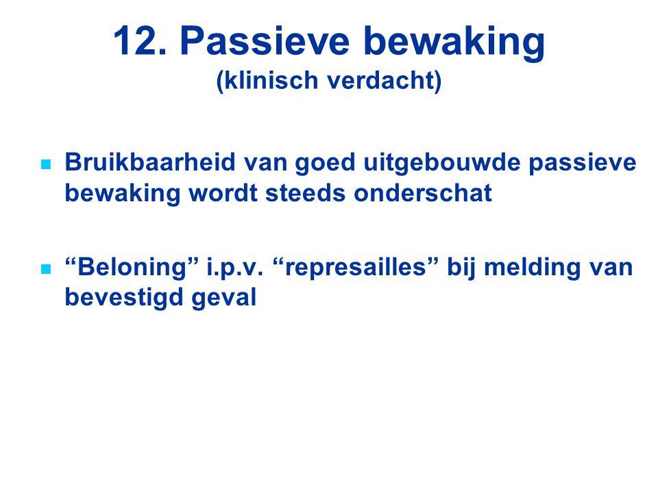 """12. Passieve bewaking (klinisch verdacht) Bruikbaarheid van goed uitgebouwde passieve bewaking wordt steeds onderschat """"Beloning"""" i.p.v. """"represailles"""