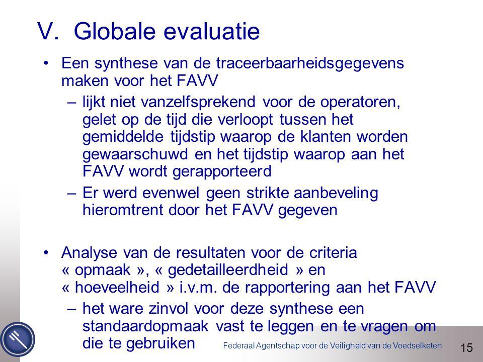 Federaal Agentschap voor de Veiligheid van de Voedselketen V. Globale evaluatie 15 Een synthese van de traceerbaarheidsgegevens maken voor het FAVV –l