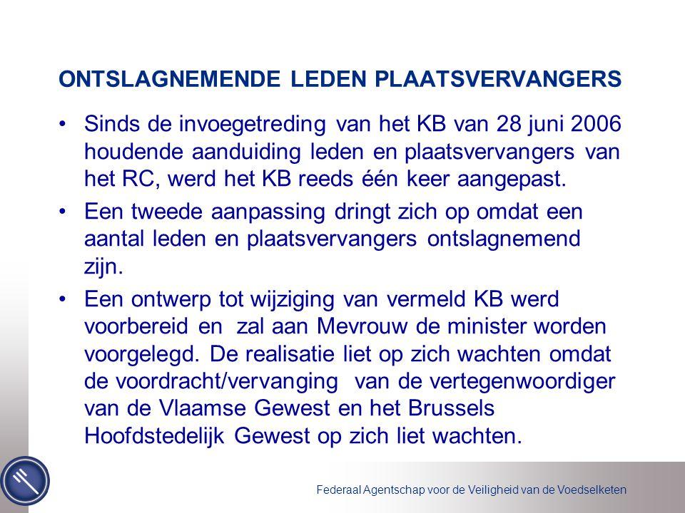 Federaal Agentschap voor de Veiligheid van de Voedselketen ONTSLAGNEMENDE LEDEN PLAATSVERVANGERS Sinds de invoegetreding van het KB van 28 juni 2006 houdende aanduiding leden en plaatsvervangers van het RC, werd het KB reeds één keer aangepast.