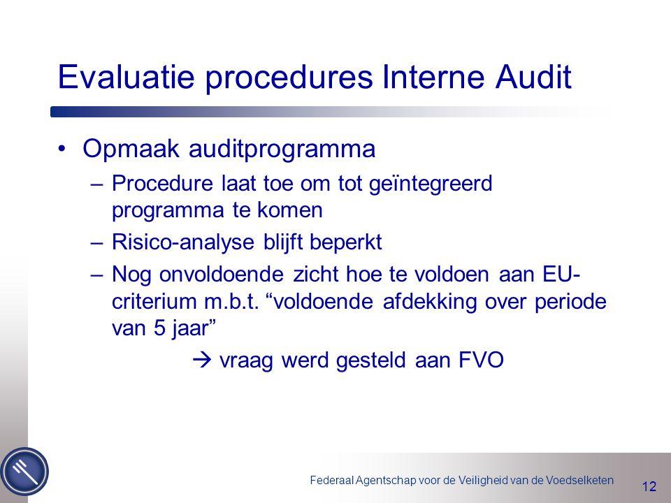 Federaal Agentschap voor de Veiligheid van de Voedselketen 12 Evaluatie procedures Interne Audit Opmaak auditprogramma –Procedure laat toe om tot geïn