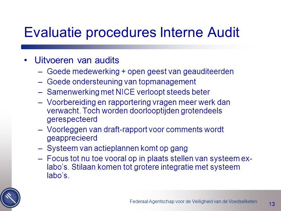 Federaal Agentschap voor de Veiligheid van de Voedselketen 13 Evaluatie procedures Interne Audit Uitvoeren van audits –Goede medewerking + open geest