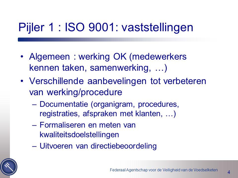 Federaal Agentschap voor de Veiligheid van de Voedselketen 4 Algemeen : werking OK (medewerkers kennen taken, samenwerking, …) Verschillende aanbeveli