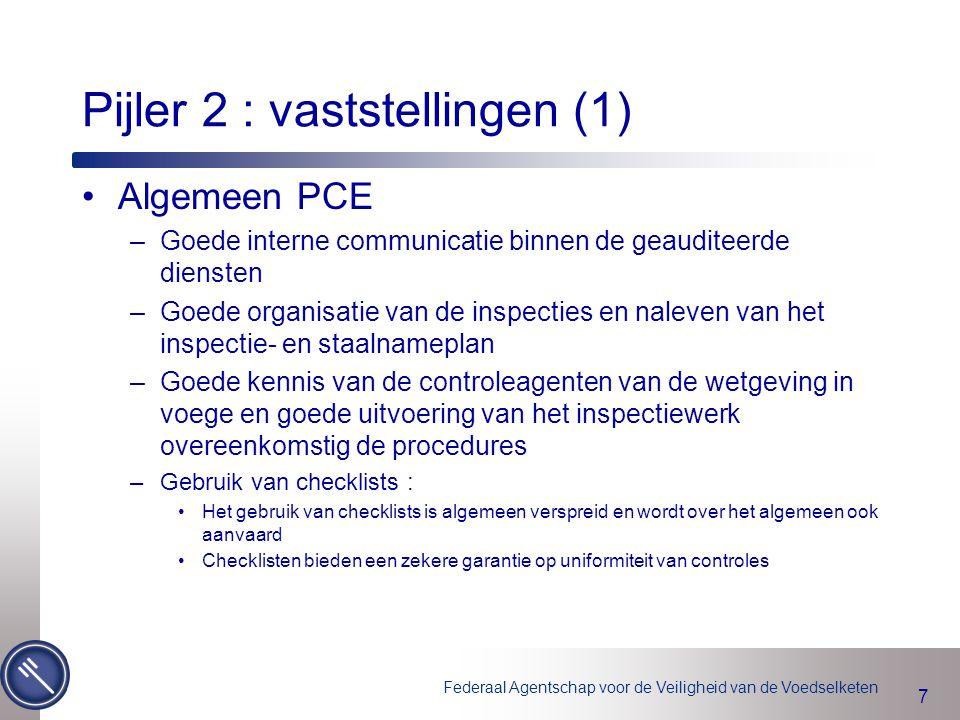 Federaal Agentschap voor de Veiligheid van de Voedselketen 7 Pijler 2 : vaststellingen (1) Algemeen PCE –Goede interne communicatie binnen de geaudite