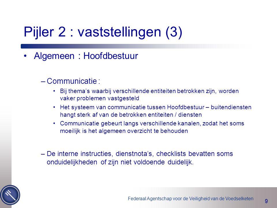 Federaal Agentschap voor de Veiligheid van de Voedselketen 9 Pijler 2 : vaststellingen (3) Algemeen : Hoofdbestuur –Communicatie : Bij thema's waarbij