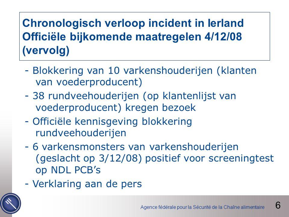 Agence fédérale pour la Sécurité de la Chaîne alimentaire VWA stelt FAVV in kennis van 2 positieve resultaten, waaronder een Belgische gelatinefabrikant (5,4 pg/g vet).