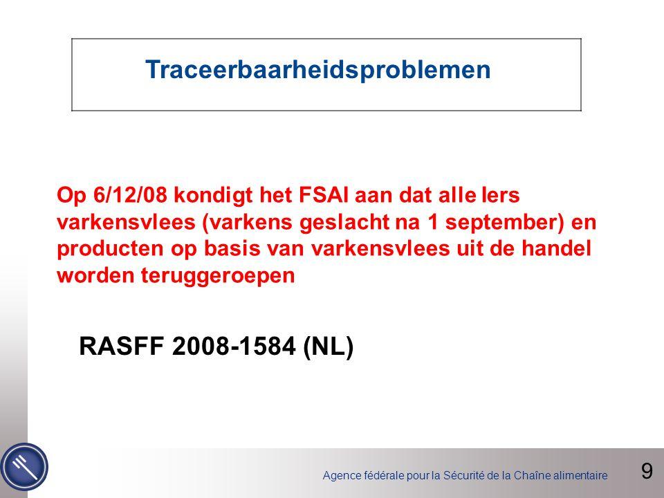 Agence fédérale pour la Sécurité de la Chaîne alimentaire Op 6/12/08 kondigt het FSAI aan dat alle Iers varkensvlees (varkens geslacht na 1 september) en producten op basis van varkensvlees uit de handel worden teruggeroepen 9 Traceerbaarheidsproblemen RASFF 2008-1584 (NL)
