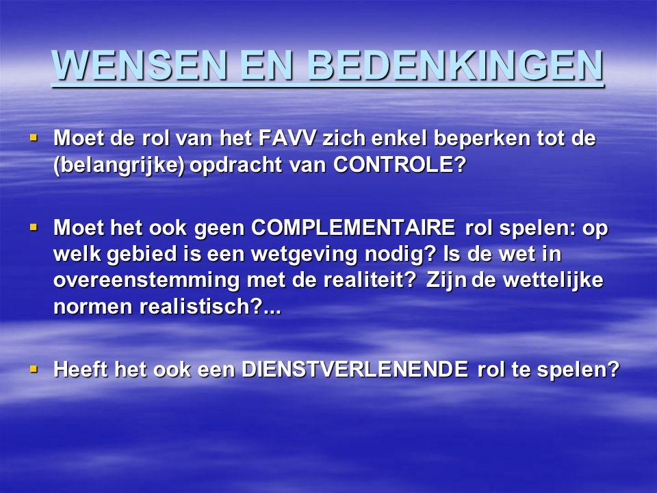 WENSEN EN BEDENKINGEN  Moet de rol van het FAVV zich enkel beperken tot de (belangrijke) opdracht van CONTROLE.