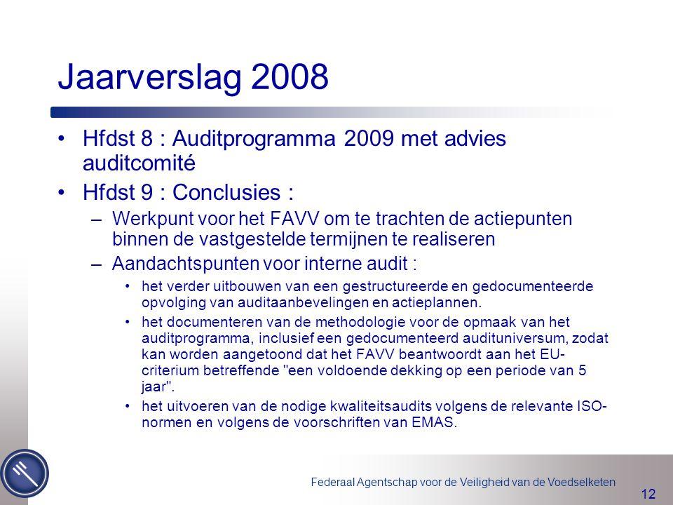 Federaal Agentschap voor de Veiligheid van de Voedselketen 12 Hfdst 8 : Auditprogramma 2009 met advies auditcomité Hfdst 9 : Conclusies : –Werkpunt vo