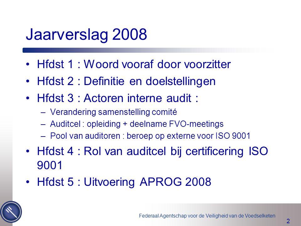 Federaal Agentschap voor de Veiligheid van de Voedselketen 3 Hfdst 5 : Realisatie auditprogramma 2008 (1) Audits ISO 9001 : 7 van de 11 geplande audits gerealiseerd.