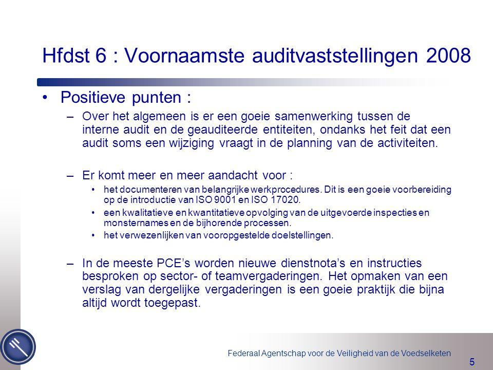 Federaal Agentschap voor de Veiligheid van de Voedselketen 5 Hfdst 6 : Voornaamste auditvaststellingen 2008 Positieve punten : –Over het algemeen is e