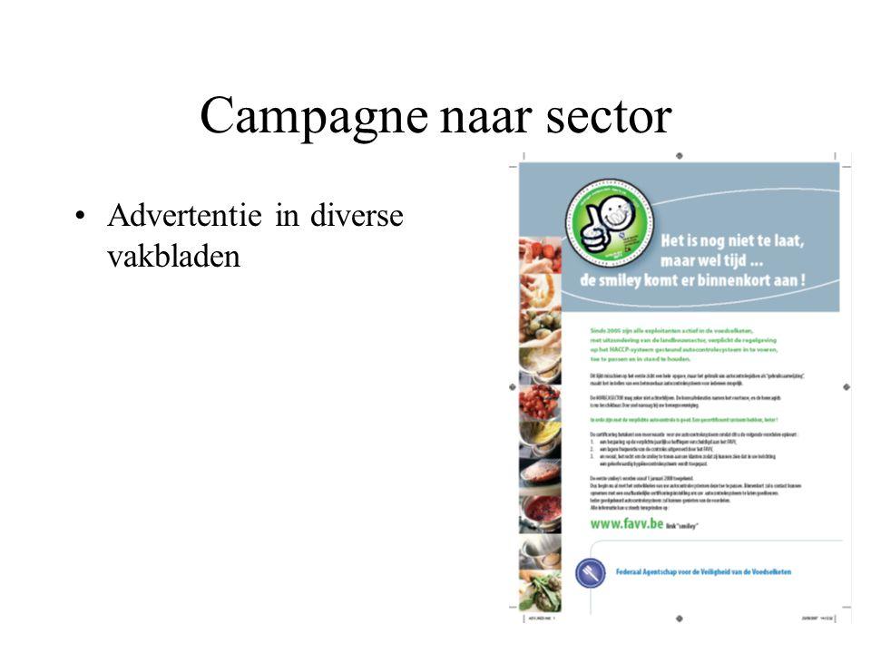 Campagne naar sector Advertentie in diverse vakbladen Artikel in Horecamagazine