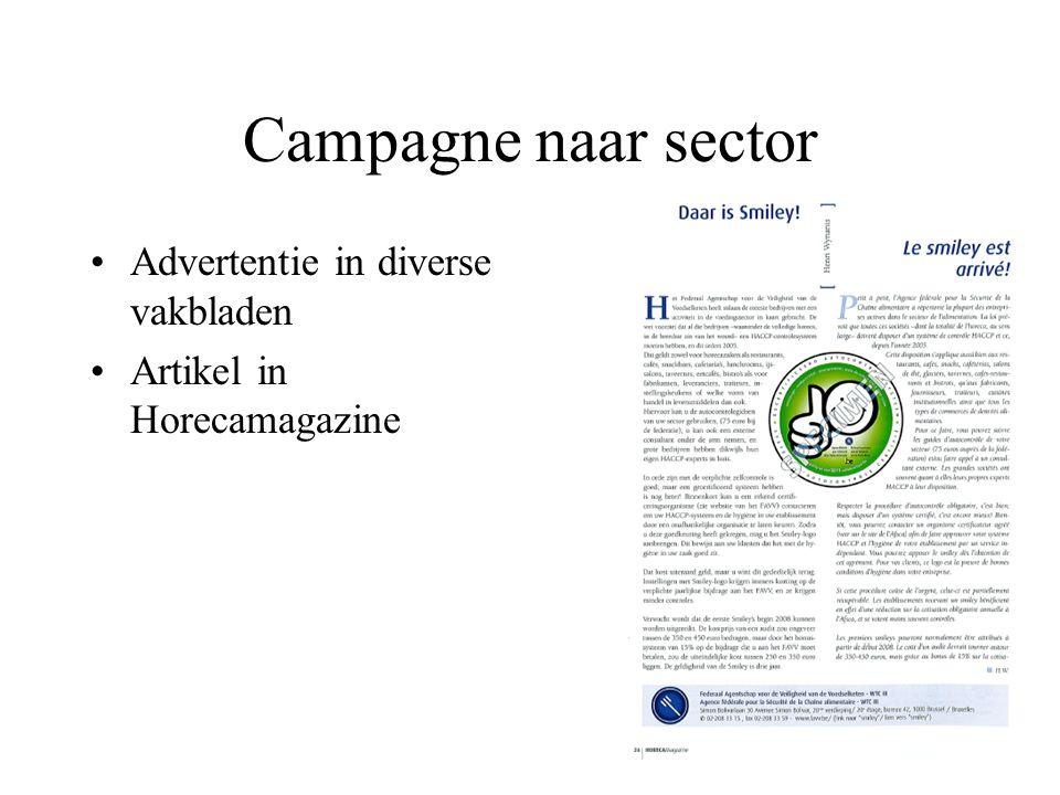 Campagne naar sector Advertentie in diverse vakbladen Artikel in Horecamagazine Deelname beurzen (Horeca life & Horeca Expo)