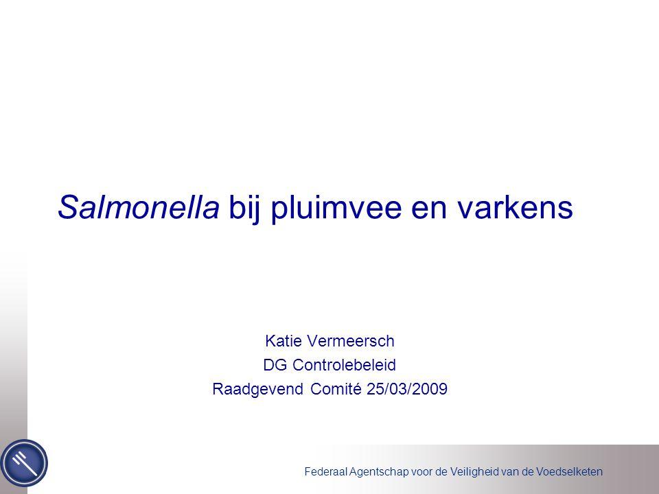 Federaal Agentschap voor de Veiligheid van de Voedselketen Financiering door FAVV Programma's pluimvee –Monitoring (2008) Fokpluimvee: 155.000€ Leghennen: 25.000€ –Dierenarts (2009) Braadkippen: 111.000€ Programma varkens 2008 –Monitoring: 473.000€ –Dierenarts: 159.000€ 923.000€