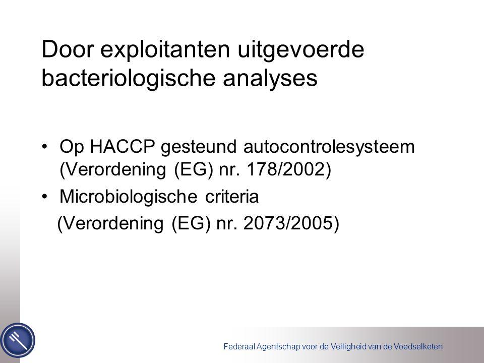 Federaal Agentschap voor de Veiligheid van de Voedselketen Door exploitanten uitgevoerde bacteriologische analyses Op HACCP gesteund autocontrolesysteem (Verordening (EG) nr.