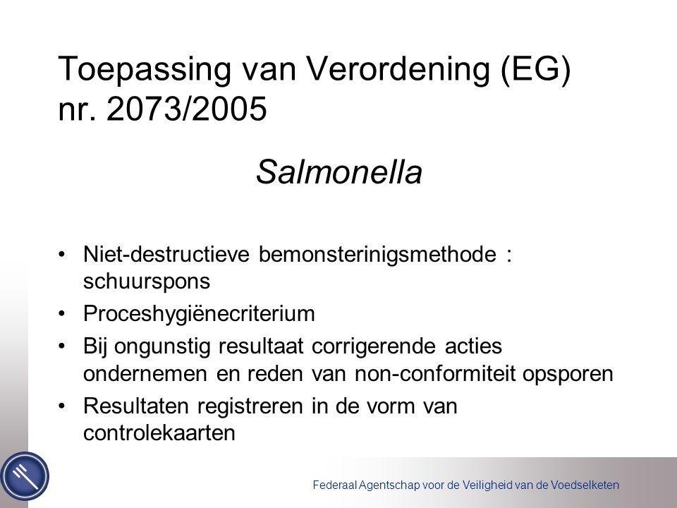Federaal Agentschap voor de Veiligheid van de Voedselketen Toepassing van Verordening (EG) nr.