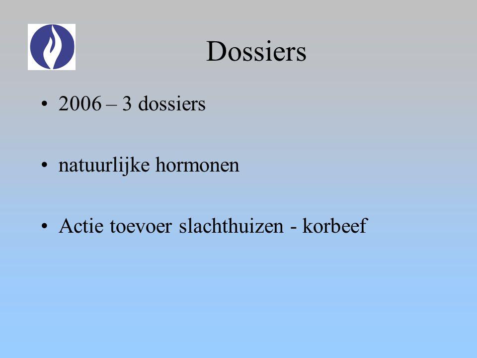 Dossiers 2006 – 3 dossiers natuurlijke hormonen Actie toevoer slachthuizen - korbeef