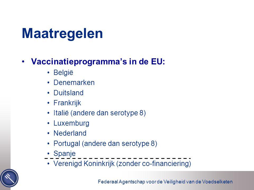 Federaal Agentschap voor de Veiligheid van de Voedselketen Maatregelen Vaccinatieprogramma's in de EU: België Denemarken Duitsland Frankrijk Italië (andere dan serotype 8) Luxemburg Nederland Portugal (andere dan serotype 8) Spanje Verenigd Koninkrijk (zonder co-financiering)