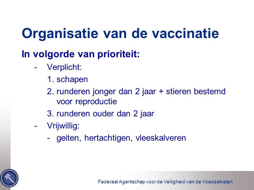 Federaal Agentschap voor de Veiligheid van de Voedselketen Organisatie van de vaccinatie In volgorde van prioriteit: -Verplicht: 1.schapen 2.runderen