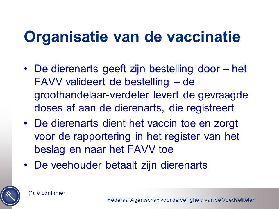 Federaal Agentschap voor de Veiligheid van de Voedselketen Organisatie van de vaccinatie De dierenarts geeft zijn bestelling door – het FAVV valideert de bestelling – de groothandelaar-verdeler levert de gevraagde doses af aan de dierenarts, die registreert De dierenarts dient het vaccin toe en zorgt voor de rapportering in het register van het beslag en naar het FAVV toe De veehouder betaalt zijn dierenarts (*): à confirmer