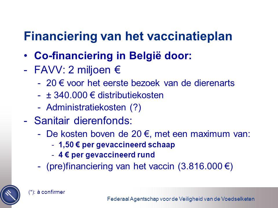 Federaal Agentschap voor de Veiligheid van de Voedselketen Financiering van het vaccinatieplan Co-financiering in België door: -FAVV: 2 miljoen € -20 € voor het eerste bezoek van de dierenarts -± 340.000 € distributiekosten -Administratiekosten (?) -Sanitair dierenfonds: -De kosten boven de 20 €, met een maximum van: -1,50 € per gevaccineerd schaap -4 € per gevaccineerd rund -(pre)financiering van het vaccin (3.816.000 €) (*): à confirmer