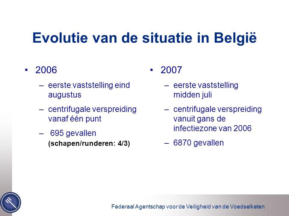 Federaal Agentschap voor de Veiligheid van de Voedselketen Evolutie van de situatie in België 2006 –eerste vaststelling eind augustus –centrifugale ve