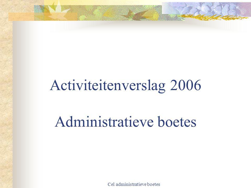 Cel administratieve boetes Wijziging regelgeving bedrag voorgestelde boete 2003 Niet lager dan het minimum noch hoger dan het maximum (Art.