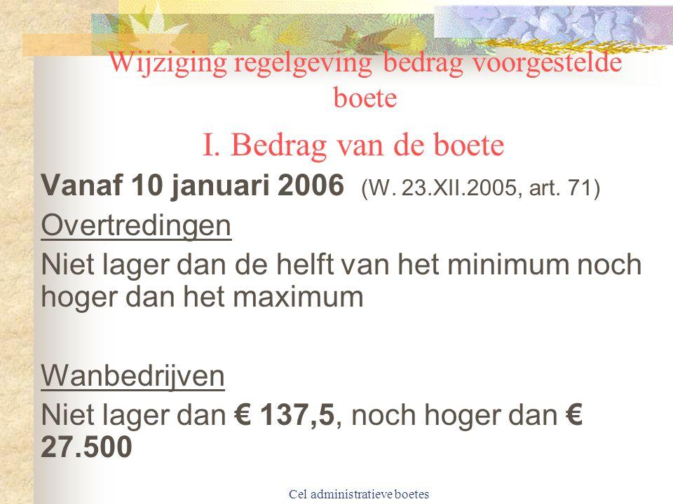 Cel administratieve boetes Wijziging regelgeving bedrag voorgestelde boete I.