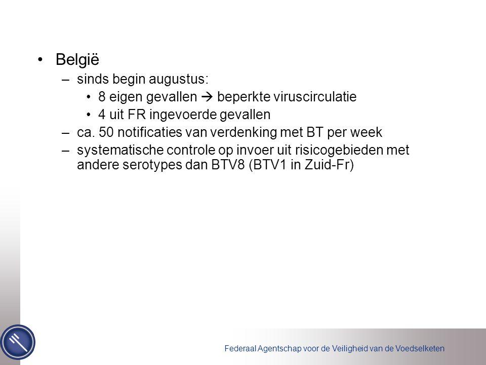Federaal Agentschap voor de Veiligheid van de Voedselketen België –sinds begin augustus: 8 eigen gevallen  beperkte viruscirculatie 4 uit FR ingevoerde gevallen –ca.