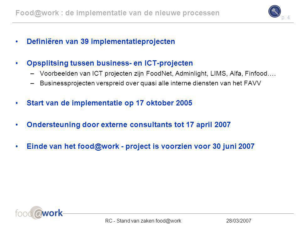 p. 4 RC - Stand van zaken food@work28/03/2007 Food@work : de implementatie van de nieuwe processen Definiëren van 39 implementatieprojecten Opsplitsin