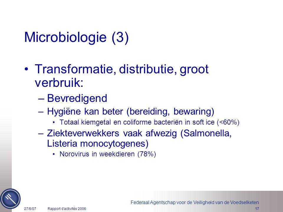 Federaal Agentschap voor de Veiligheid van de Voedselketen 27/6/07Rapport d'activités 200617 Microbiologie (3) Transformatie, distributie, groot verbr