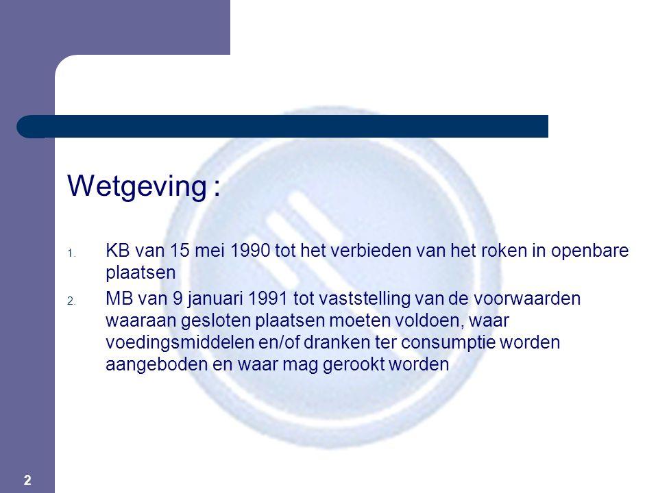 2 Wetgeving : 1. KB van 15 mei 1990 tot het verbieden van het roken in openbare plaatsen 2.
