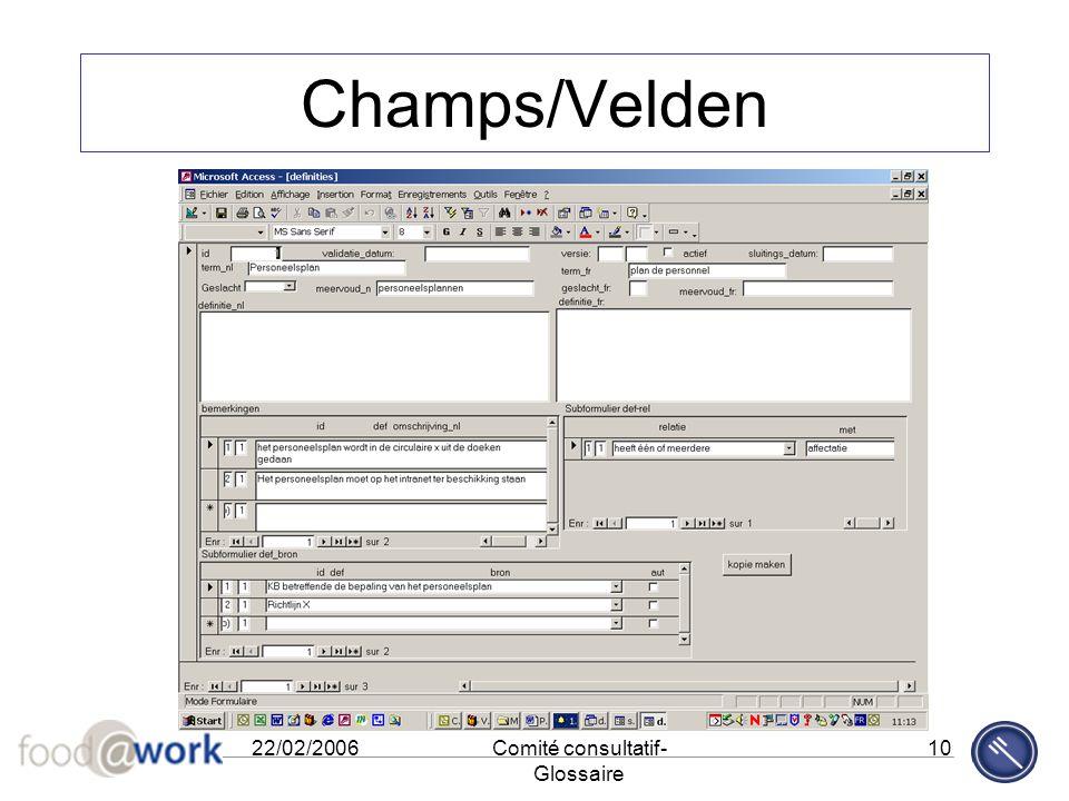 22/02/2006Comité consultatif- Glossaire 10 Champs/Velden