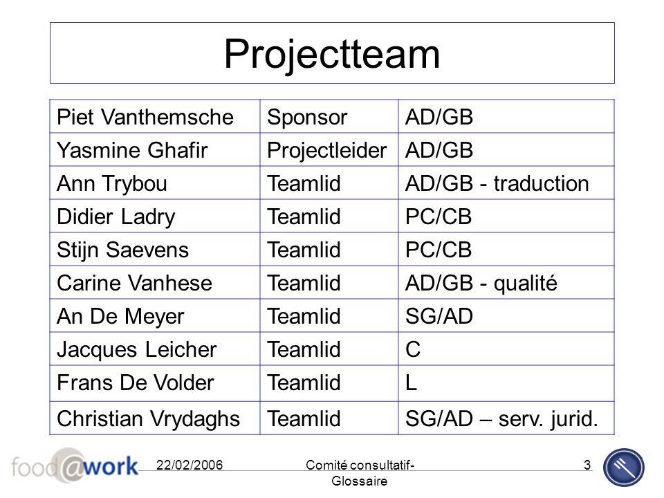 22/02/2006Comité consultatif- Glossaire 3 Projectteam Piet VanthemscheSponsorAD/GB Yasmine GhafirProjectleiderAD/GB Ann TrybouTeamlidAD/GB - traductio